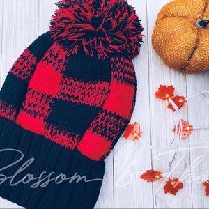 Pom Pom Beanie Hat - Checkered